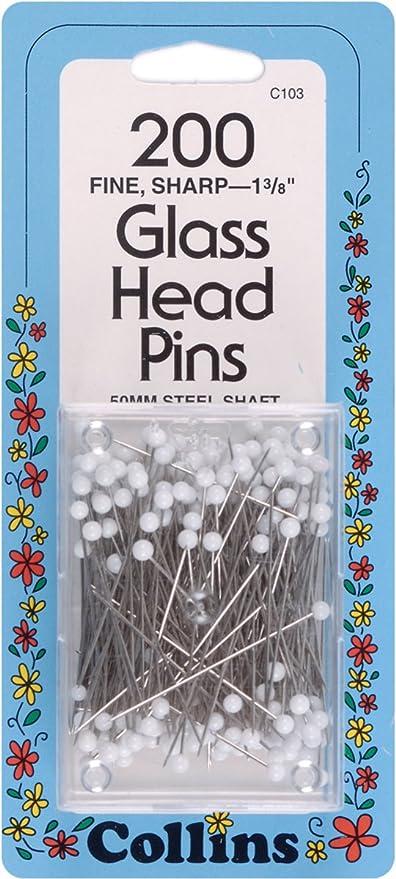 """COLLINS WHITE GLASS HEAD PINS 1 3//8"""" 200 EACH # C103 103"""