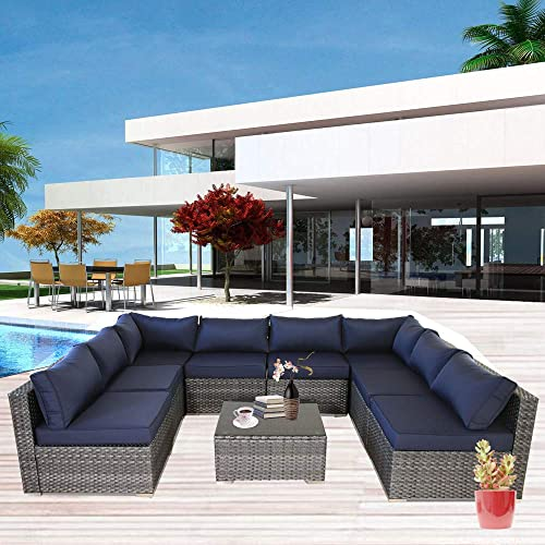 Patio Outdoor Christmas Party Sofa PE Grey Rattan Furniture Set 9pcs Garden Wicker Patio Furniture Navy Blue Cushion Sectional Sofa Conversation Sets