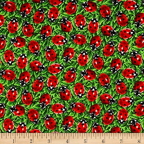 Fabri-Quilt You You Bug Me Ladybug Green Fabric by The Yard,