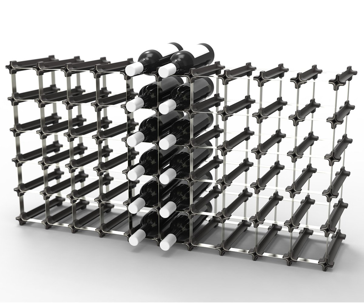 50 NOOK Wine Rack - Easy 2 Step Assembly - No Hardware Required - Capacity: 60 Bottles by Wine Racks America