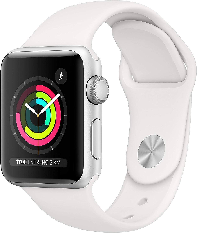 AppleWatchSeries3 (GPS) concaja de 38mm de aluminio enplata ycorrea deportiva, Blanca