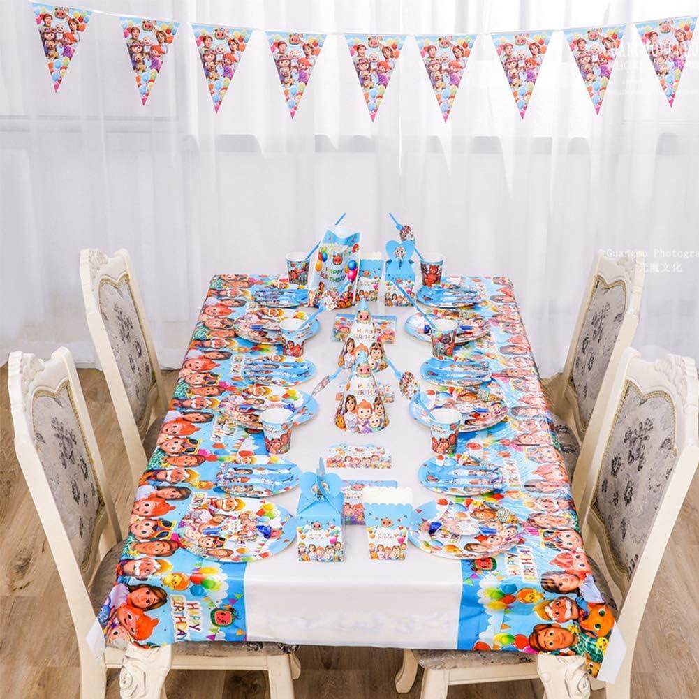 fourches pour 10 Enfants nappes REYOK 92PCS Cocomelon Party Supplies Set de d/écoration Happy Birthday Party Vaisselle Comprend Flatwares Serviettes Tasses pancartes