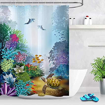 LB Colorful Sea Lifes Underwater Shower CurtainBlue Tropical Theme Fishes Plants Ocean Scene