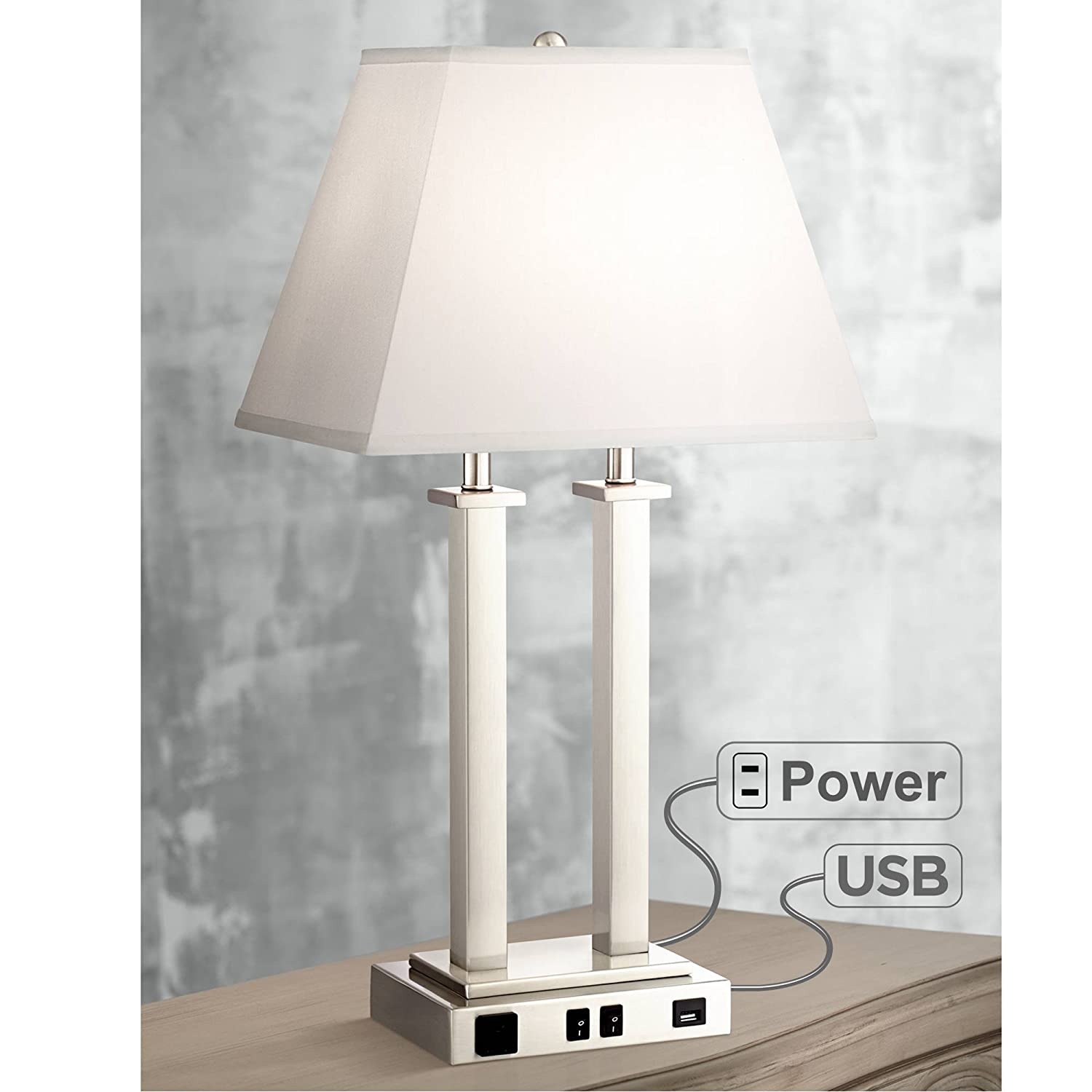 Amity Modern Table Lamp with Hotel Style USB AC Outlet Brushed Nickel Side Outlet for Bedroom Endtable Nightstand – Possini Euro Design