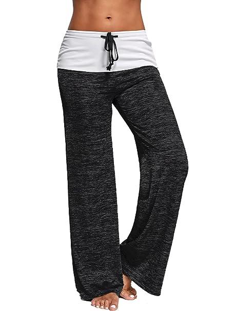 716ee3351caf19 Fandicto Womens High Waist Loose Wide Leg Yoga Pants Palazzo Pants (Small,  Black)