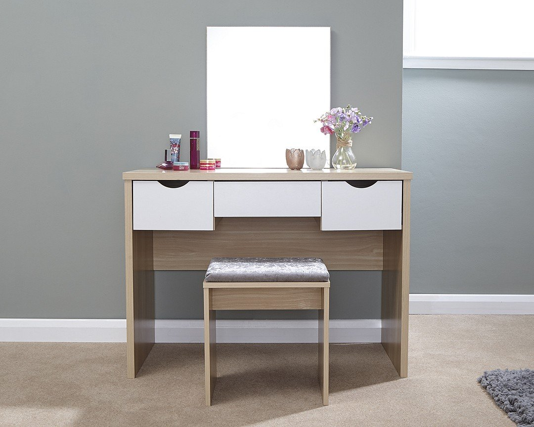 Elizabeth Oak and White Mirrored Dressing Table