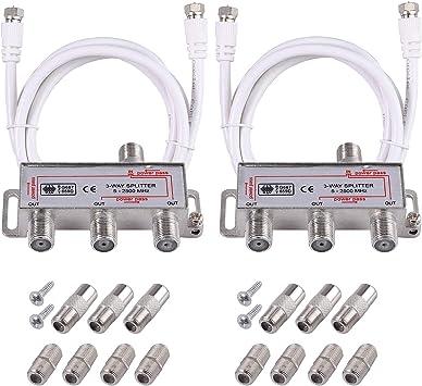 Neoteck 2 Pcs 3 vías TV Splitter Antena TV Cable de Banda Ancha Splitter Kit 1 Entrada 3 Salida Macho a Hembra Cable Coaxial Adaptador de Divisor con ...
