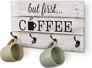 MyGift 8-Hook But First Coffee Vintage Whitewashed Solid Wood Mug Storage Rack Wall Mounted Decorative Sign