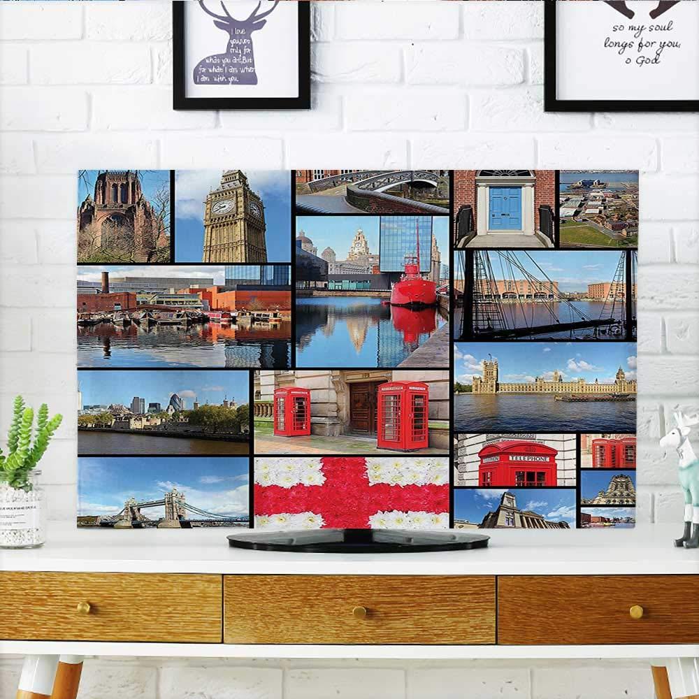 Auraisehome あなたのテレビをエジプト ヒエログリフ ファラオレトロミス パピルス グラフィック ライトイエロー レッド マリゴールドがあなたのテレビを保護 幅19 x 高さ30 インチ/テレビ 32インチ W35 x H55 INCH/TV 60