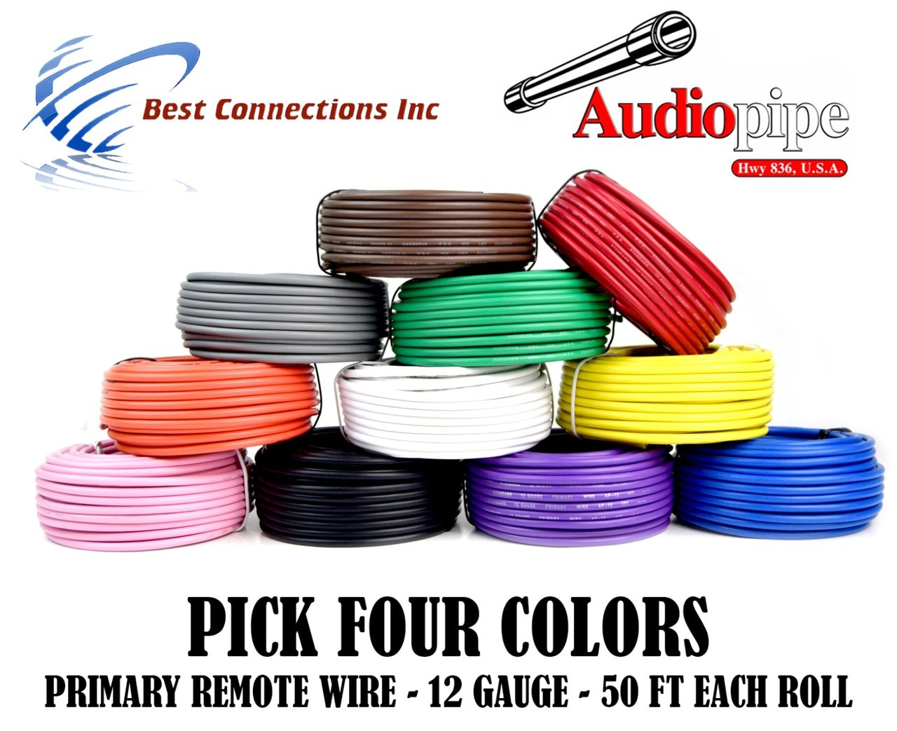 12 GA GAUGE 50 FT ROLLS PRIMARY AUTO REMOTE POWER GROUND WIRE CABLE (4 COLORS)
