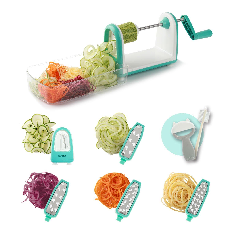 Spiralizer Vegetable Slicer, Cumbor 5 Blade Vegetable Spiralizer 6 into 1 Spiral Slicer with Cleaning Brush,Kitchen Peeler, Veggie Pasta Spaghetti Maker for Low Carb/Paleo/Gluten-Free Meals