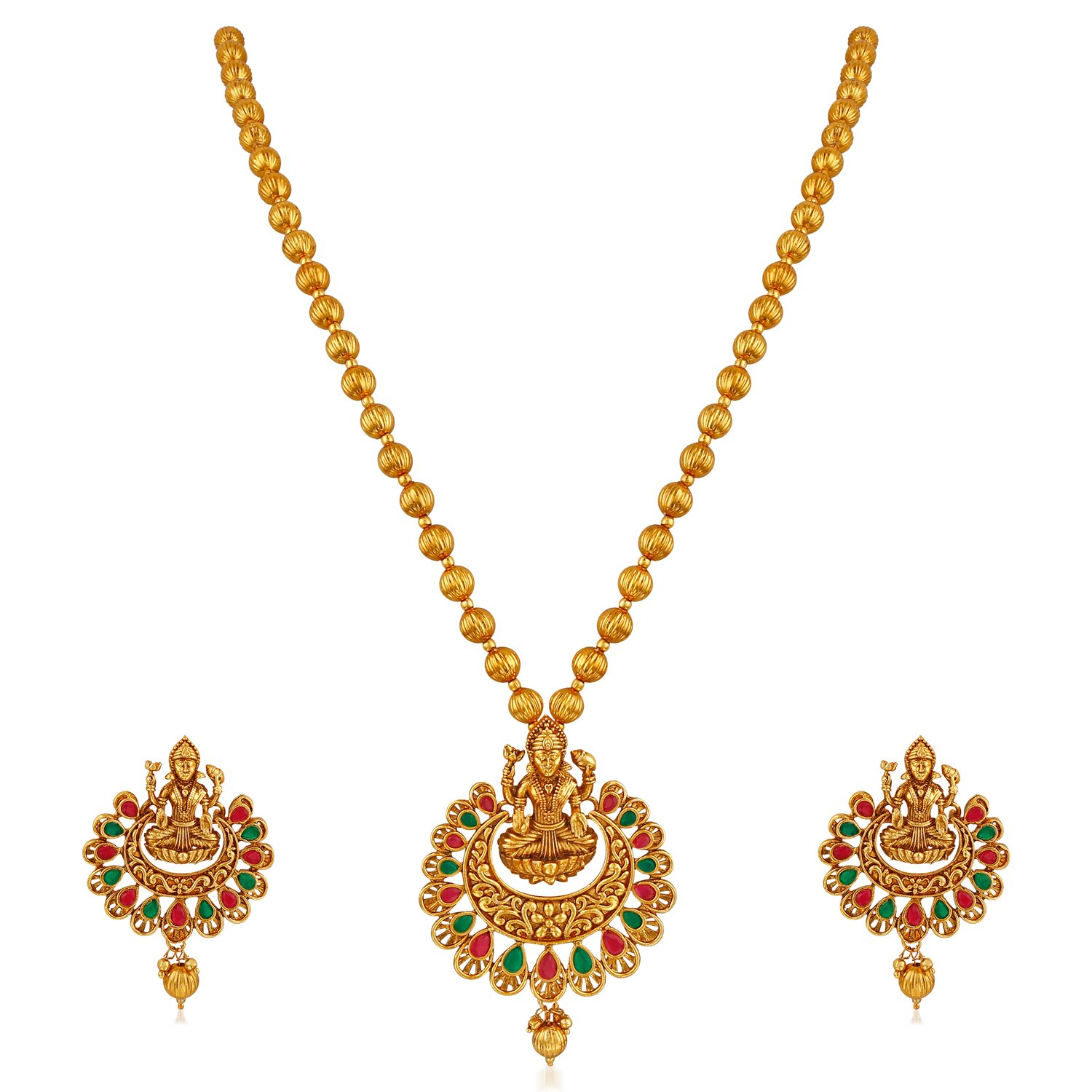 APARA Multicolour Gold Plated Traditional South Indian Laxmi