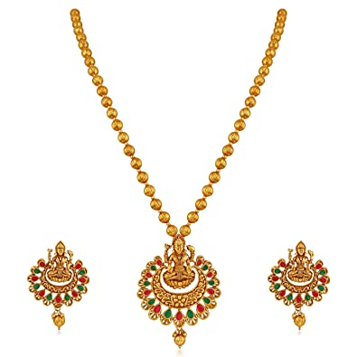 2dfaa9937b Buy APARA Multicolour Gold Plated Traditional South Indian Laxmi Jewellery  Set for Women Online at Low Prices in India | Amazon Jewellery Store -  Amazon.in