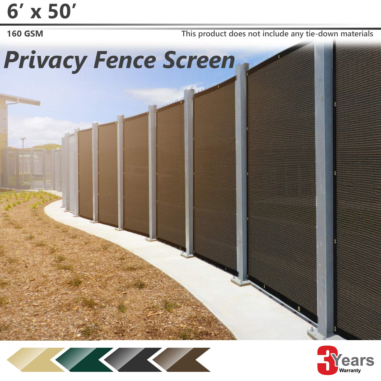 BOUYA Brown Privacy Fence Screen 6' x 50' Heavy Duty for Chain-Link Fence Privacy Screen Commercial Outdoor Shade Windscreen Mesh Fabric with Brass Gromment 160 GSM 88% Blockage UV -3 Years Warranty by BOUYA