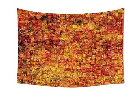 Pareti Colore Arancione : Colore: arancione bruciato decor arazzo da parete vintage mosaico