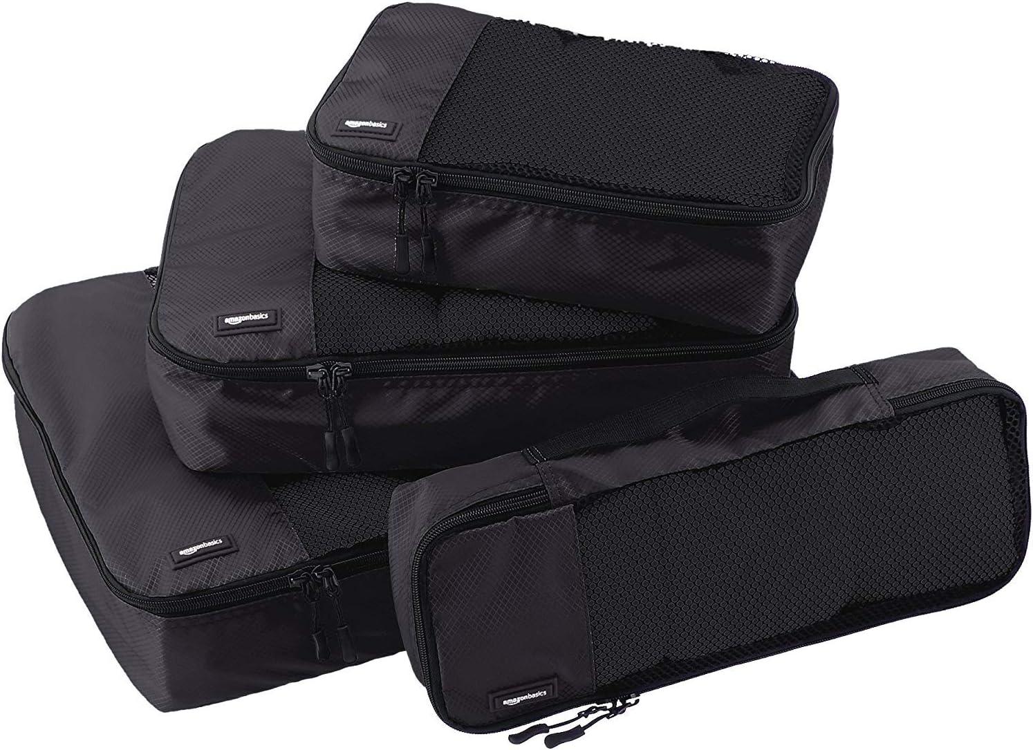 AmazonBasics - Bolsas de equipaje (pequeña, mediana, grande y alargada, 4 unidades), Negro