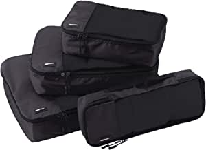 AmazonBasics 4-Piece Packing Cube Set - Small, Medium, Large, and Slim, Black