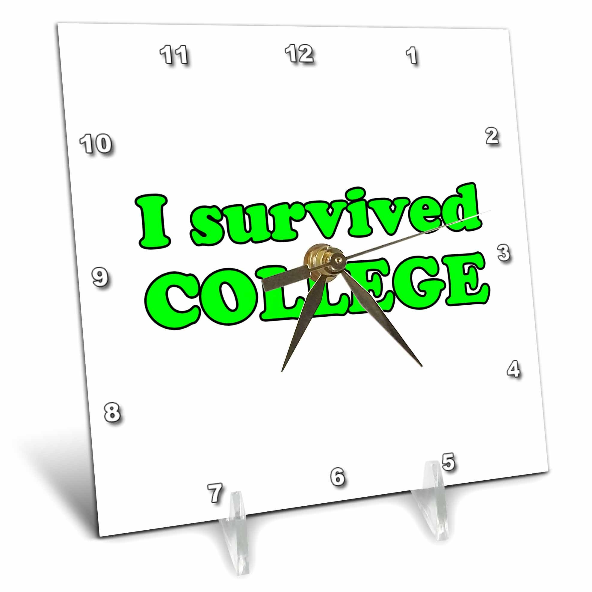 3dRose Student Humor - I Survived College Lime Green - 6x6 Desk Clock (dc_274509_1)