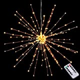 Hanging Decorative Lights,200 Led Firework Lights Battery Powered, Tent Chandelier Remote Control, Waterproof Starburst…