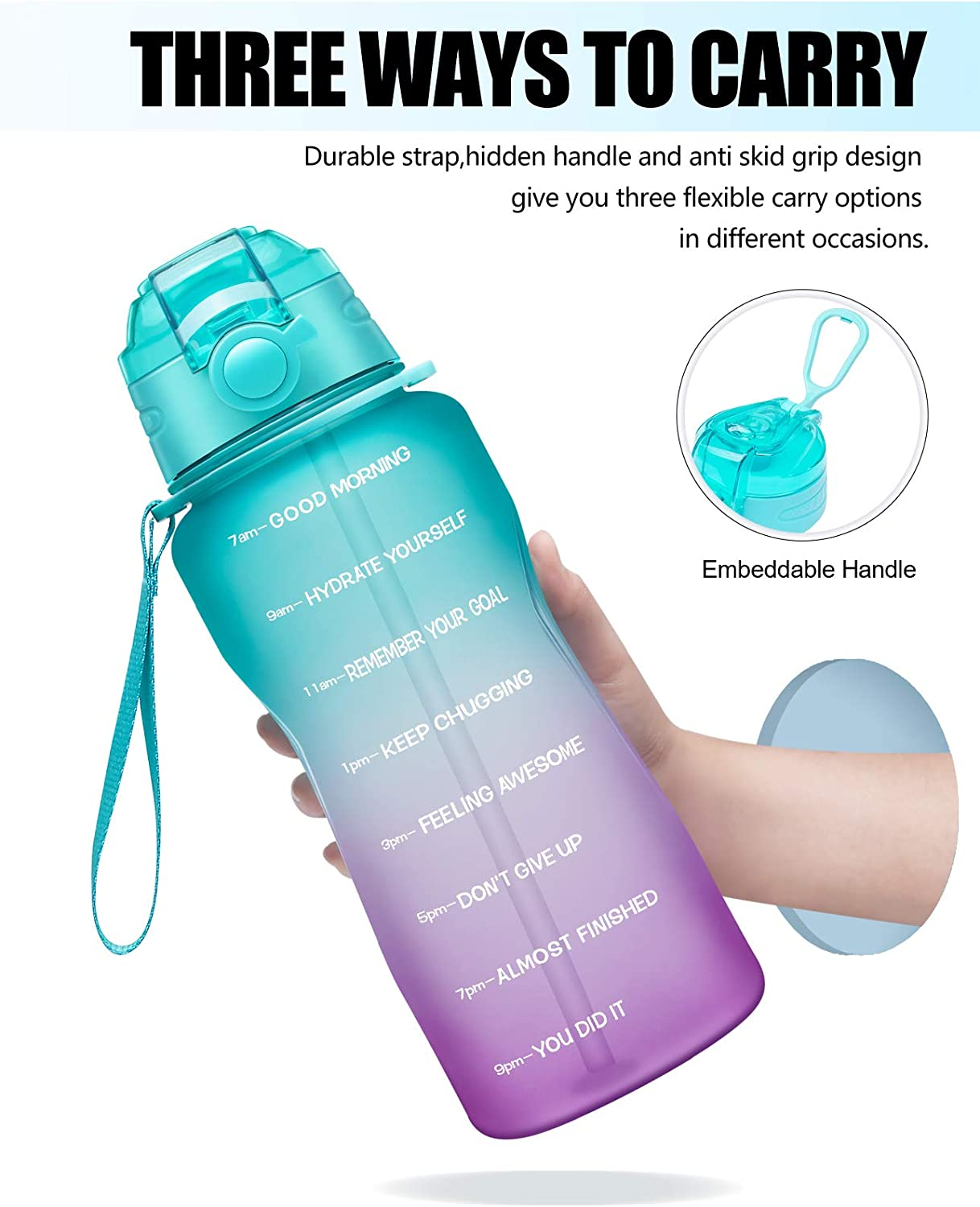 Giotto Large Half Gallon//64oz Motivational Water Bottle with Time Marker /& Straw,Leakproof Tritan BPA Free Water Jug,Ensure You Drink Enough Water Daily for Fitness,Gym and Outdoor Activity