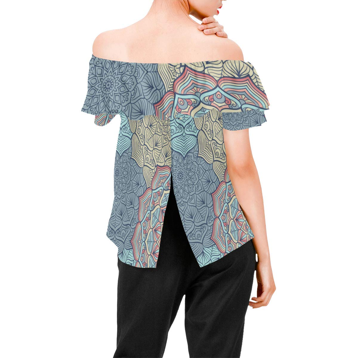 Indian Mandala Womens A-Line Chiffon Blouse Shirt Tops