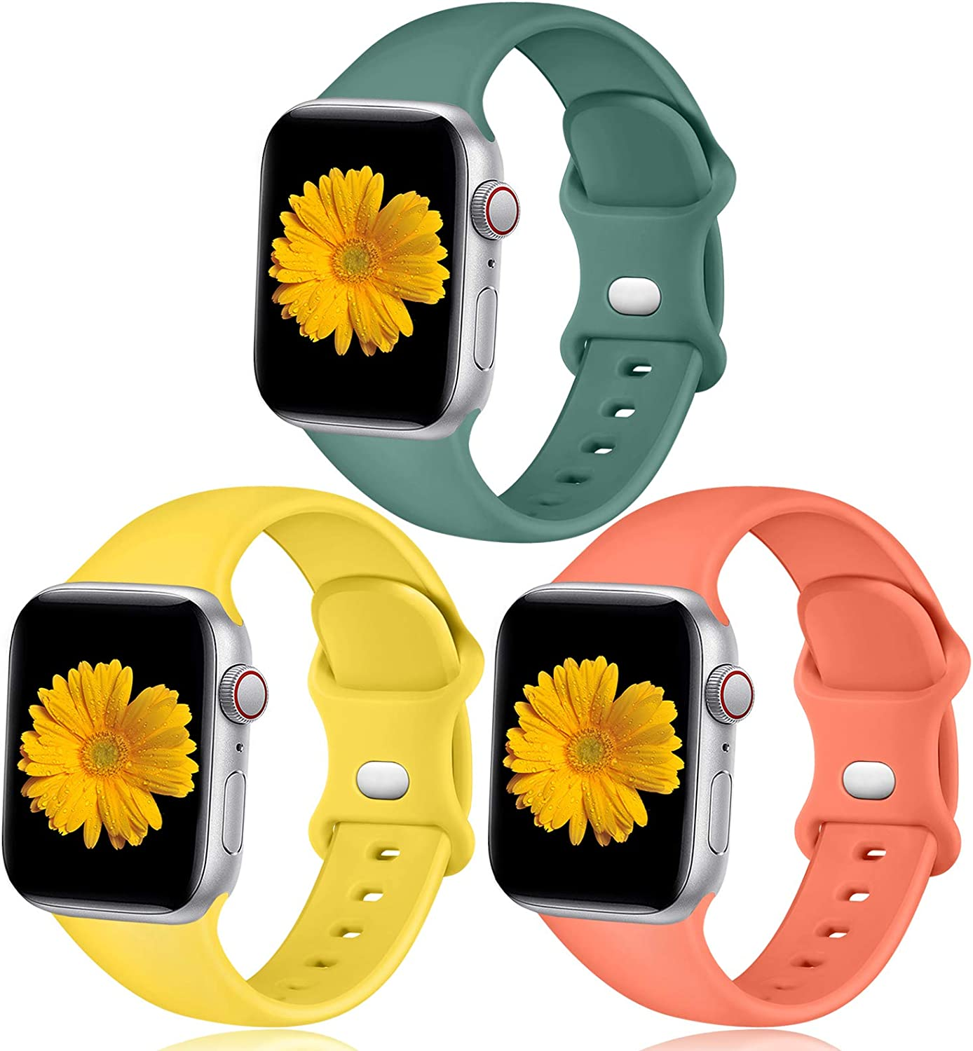 Easuny Sport Band Compatible with Apple Watch 44mm 42mm Women Men - Sport Silicone Wristbands Strap Replacement Accessories for iWatch Series 6/5/4/3/2/1,3 Pack