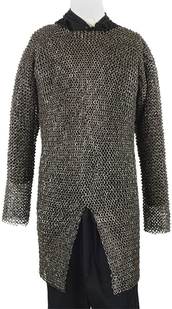 Mythrojan Half Sleeves Chainmail Shirt with Coif MS Butted Zinc Plated