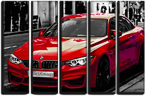 Large 5 Piece Sports Car Red M4 Vehicle Wall Art Decor Picture Painting Poster Print on Canvas Panels Piece