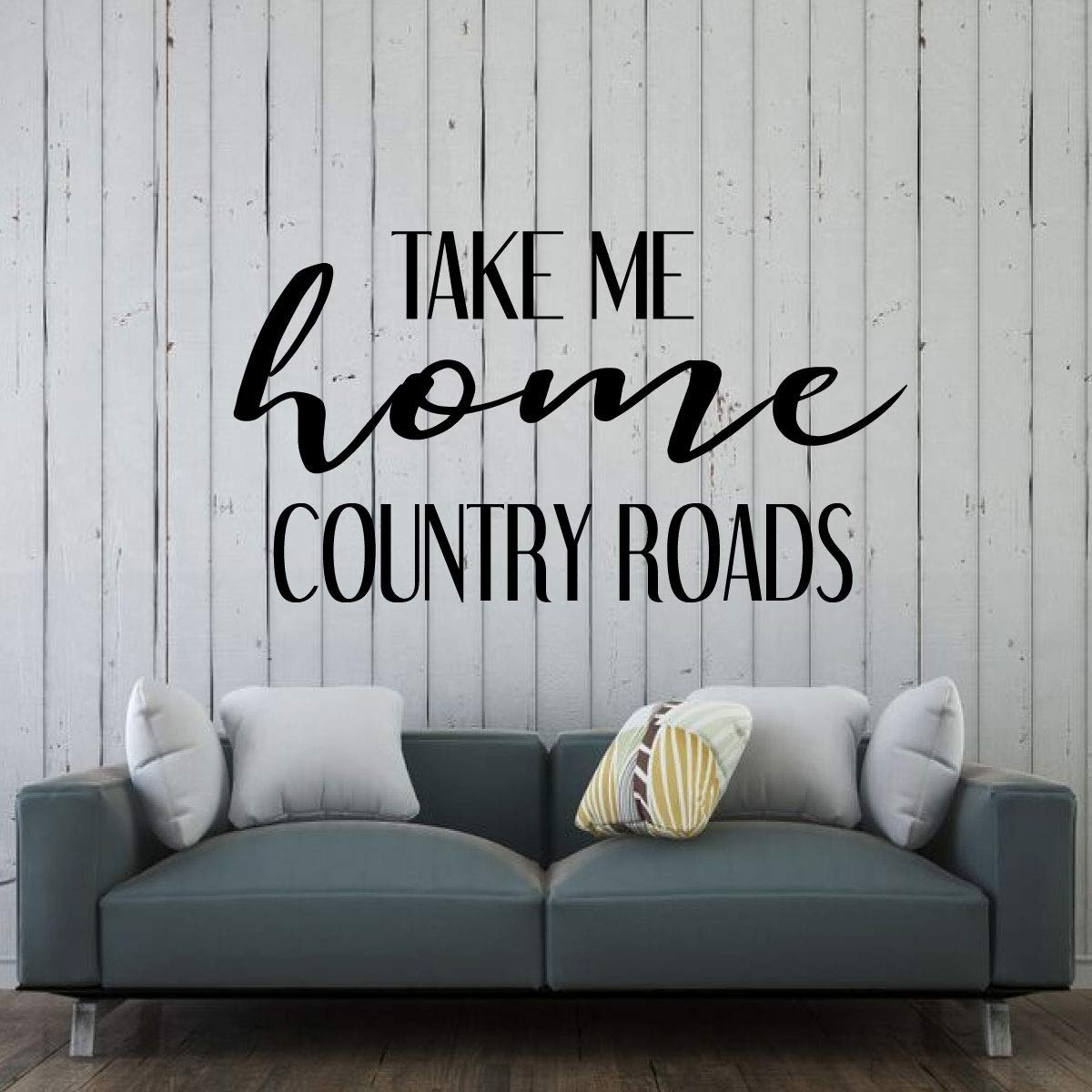 Country Roads Decor | 'Take Me Home' Lyrics Vinyl Wall Art for Living Room, Bedroom or Home Decor | Black, White, Pink, Red, Purple, Gold, Other Colors | Small and Large Sizes
