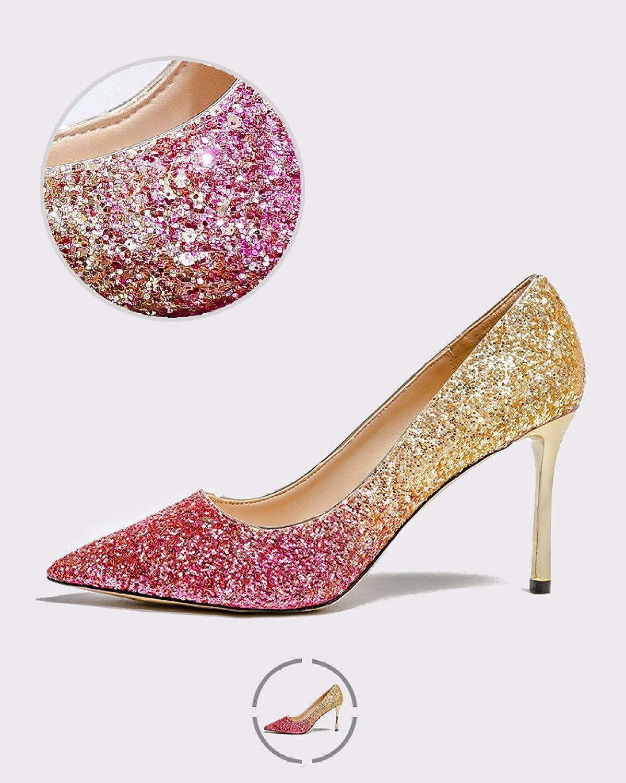 ZPFME ZPFME ZPFME Frauen Elegante Hochzeit High Heels   5 Farben Damen Pailletten Schöne Spitz Schuhe Partei Braut Pumps f00f39