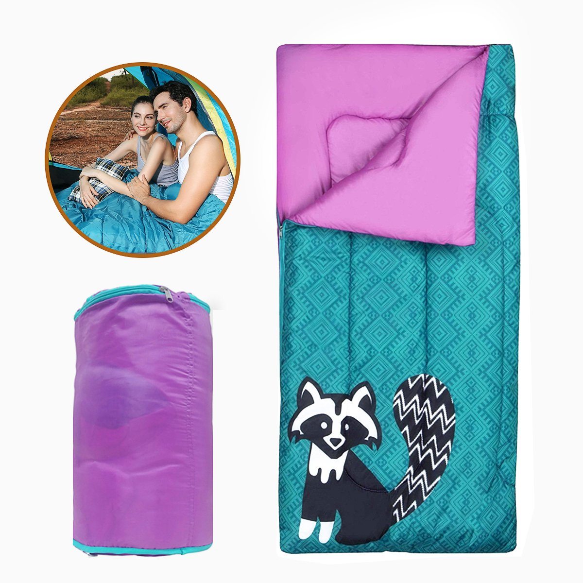 YoungRich Kids Sleeping Bag Youth Windproof Quilt Breathable Zipper Design Raccoon Pattern with Carrying Bag for Toddler Kids Children Indoor Outdoor Use Home Hiking Travel Camping 140 x 70cm