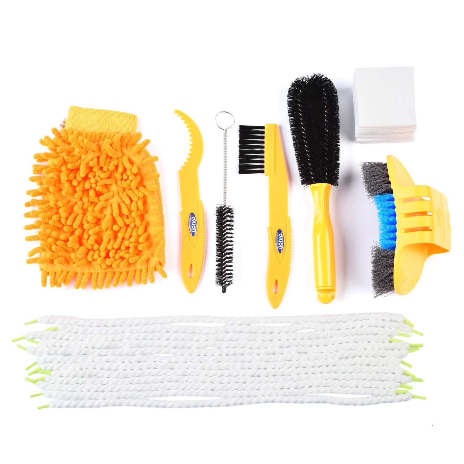 Weanas Bike Cleaning Brush Tool Kit Set with Gear Floss Microfiber Cleaning Rope and Tissue, Multi Function Bike Chain Cleaning Tool