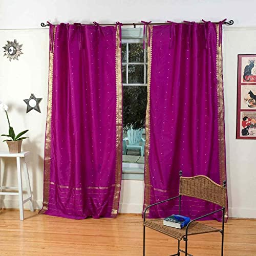 Indian Selections Violet Red Tie Top Sheer Sari Curtain/Drape/Panel