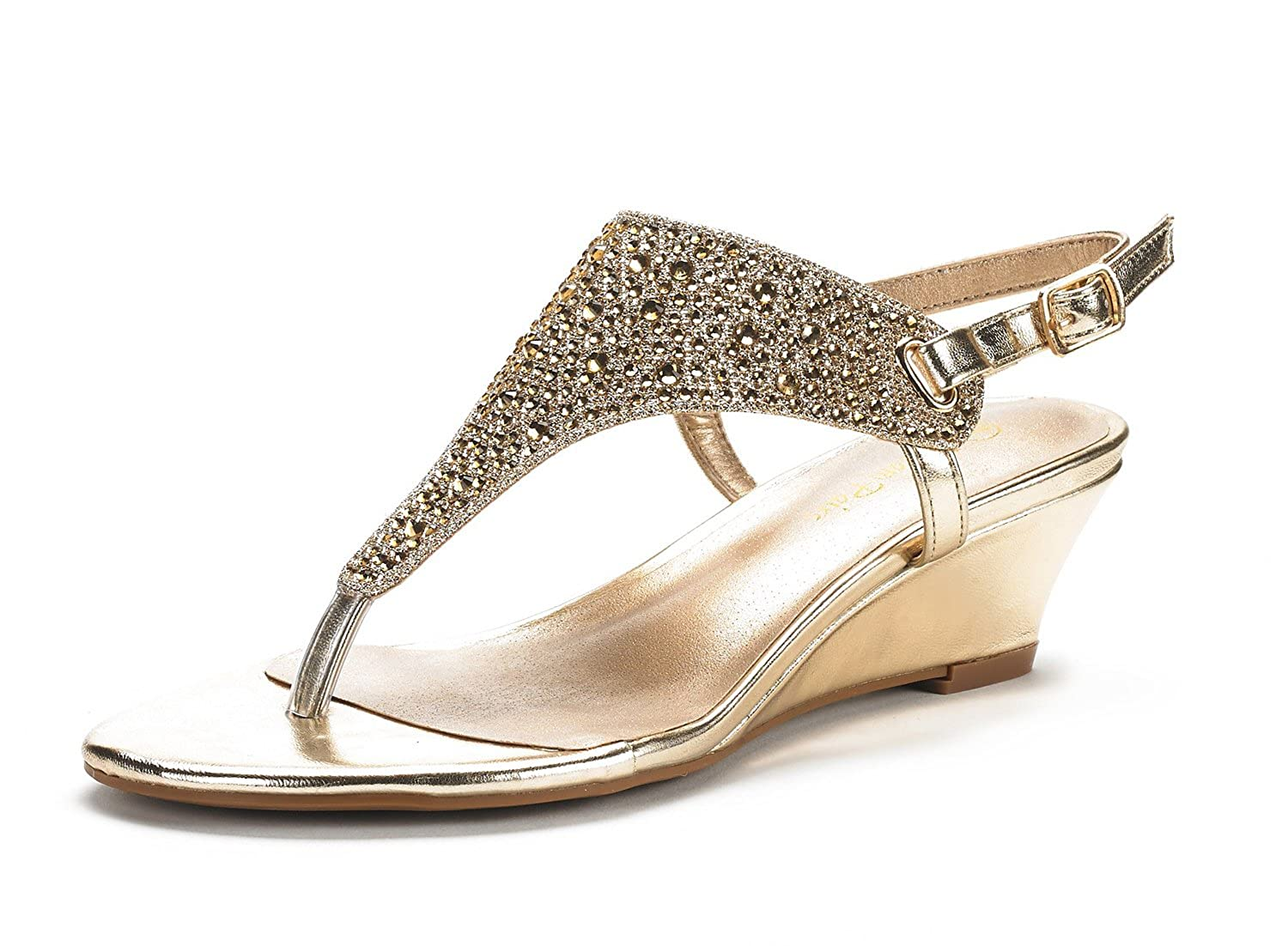 Women's Aditi Gold Sparkling Faux Rhinestone Low Wedge Dress Sandals - DeluxeAdultCostumes.com