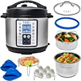 Yedi 9-in-1 Total Package Instant Programmable Pressure Cooker XL, 8 Quart, Deluxe Accessory kit, Recipes, Pressure Cook, Slo