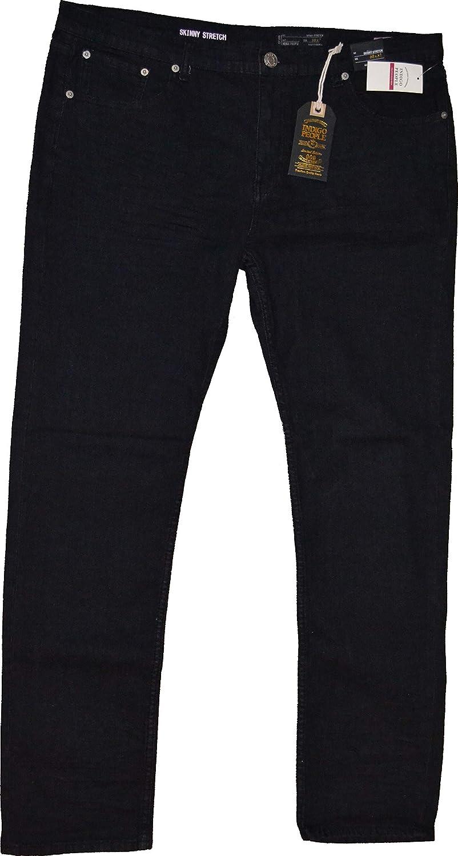 INDIGO People NWT Mens Skinny Stretch Straight Black Jeans 34 x 32
