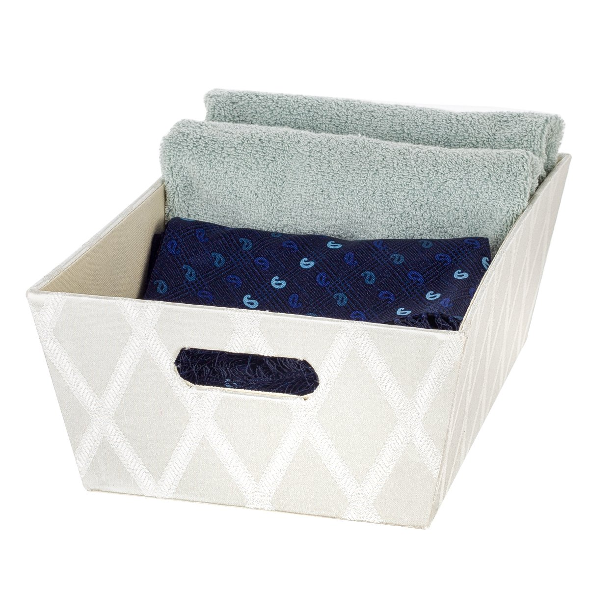Creative Scents Galliana Decorative Storage Box with Moisture-Proof Interior | Heavy Duty Fabric Organizer Bin | Ample Space for Closet Organization, Toys, Laundry, Books & More White