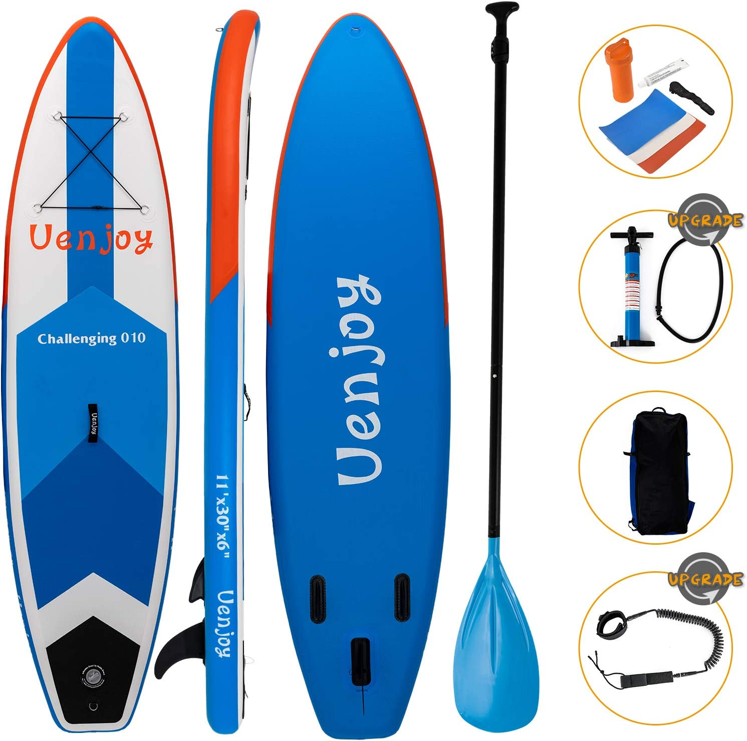 Uenjoy Inflatable Sup W 3 Years Warranty 11 30 x6 All Around Paddle Board, W Full Accessories, Perfect for Yoga Fishing Touring