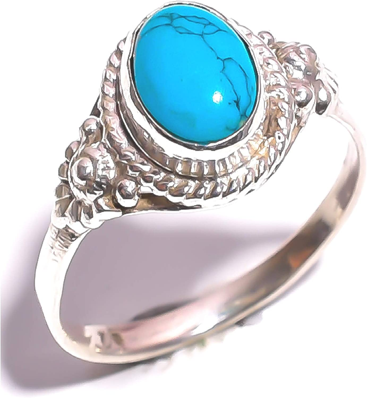 mughal gems & jewellery anillo de plata de ley 925 anillo con piedras preciosas naturales tibetanas turquesas para mujer (medida 6,25 U.S)