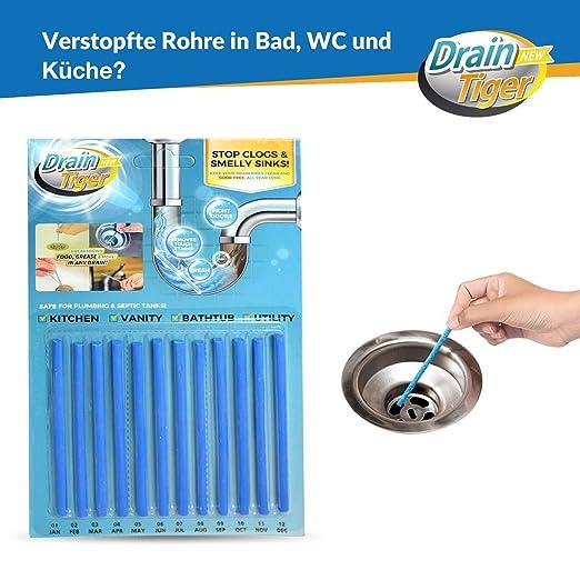 12 St/ück f/ür verstopfte Rohre in K/üche - Zitrone Bad und Dusche Drain Cleaner Abflussreiniger Sani Sticks Rohrreiniger Enzymreiniger