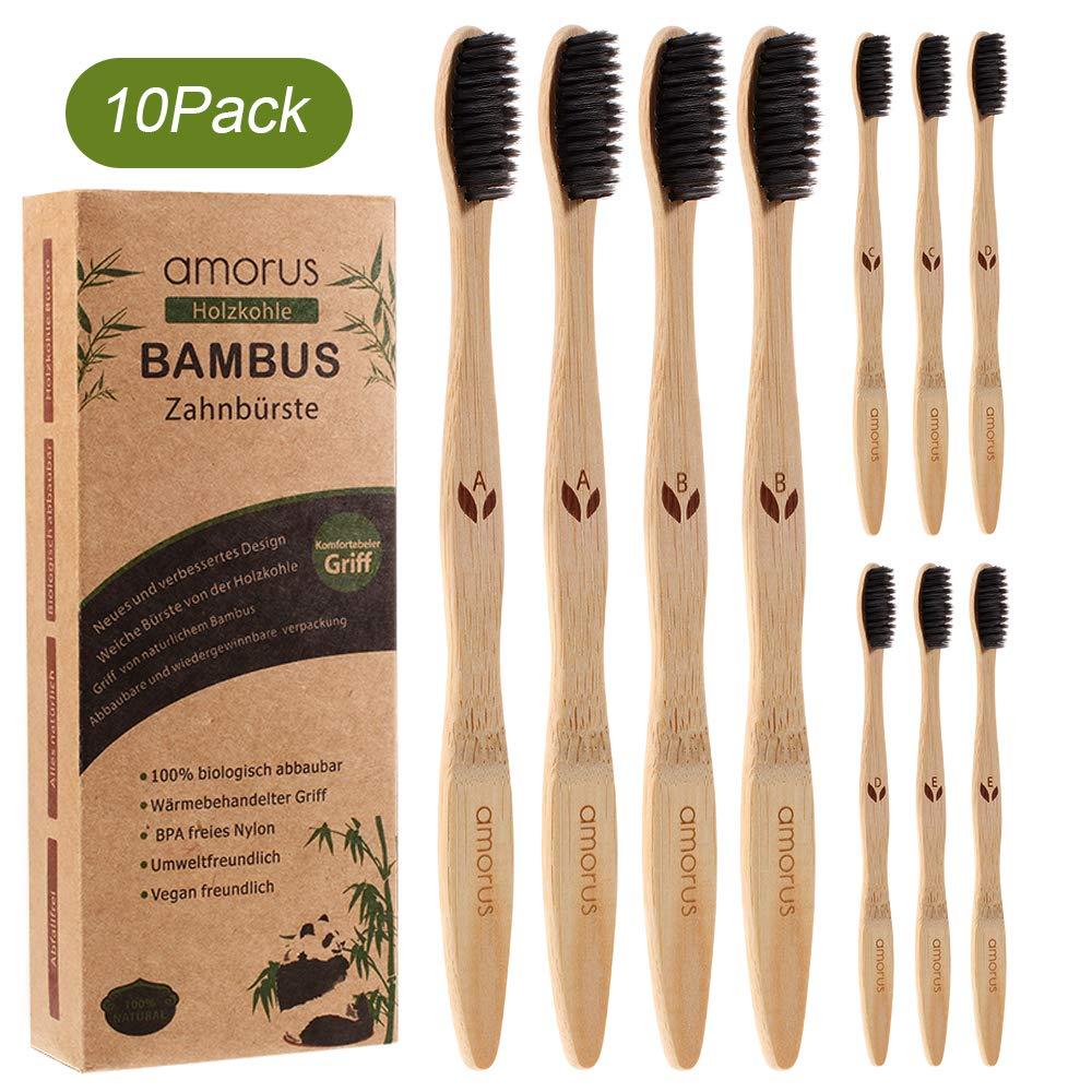 10er Set Bambus Zahnbürsten