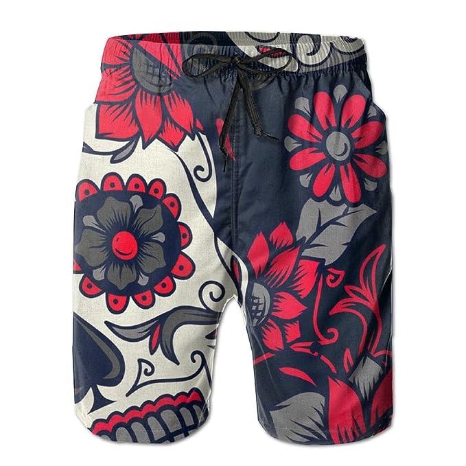 6162acb18c Amazon.com: Mens Pink Sugar Skull Summer Breathable Quick-Drying Swim  Trunks Beach Shorts Board Shorts: Clothing
