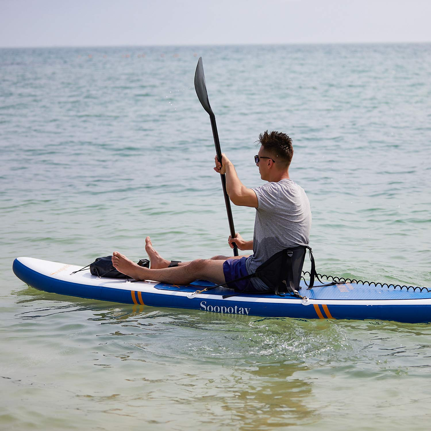 Inflatable SUP Board, Inflatable SUP Kayak, iSUP Package with All Accessories (Touring-Navy Blue-11'6'' x 32'' x 6'') by Soopotay (Image #6)