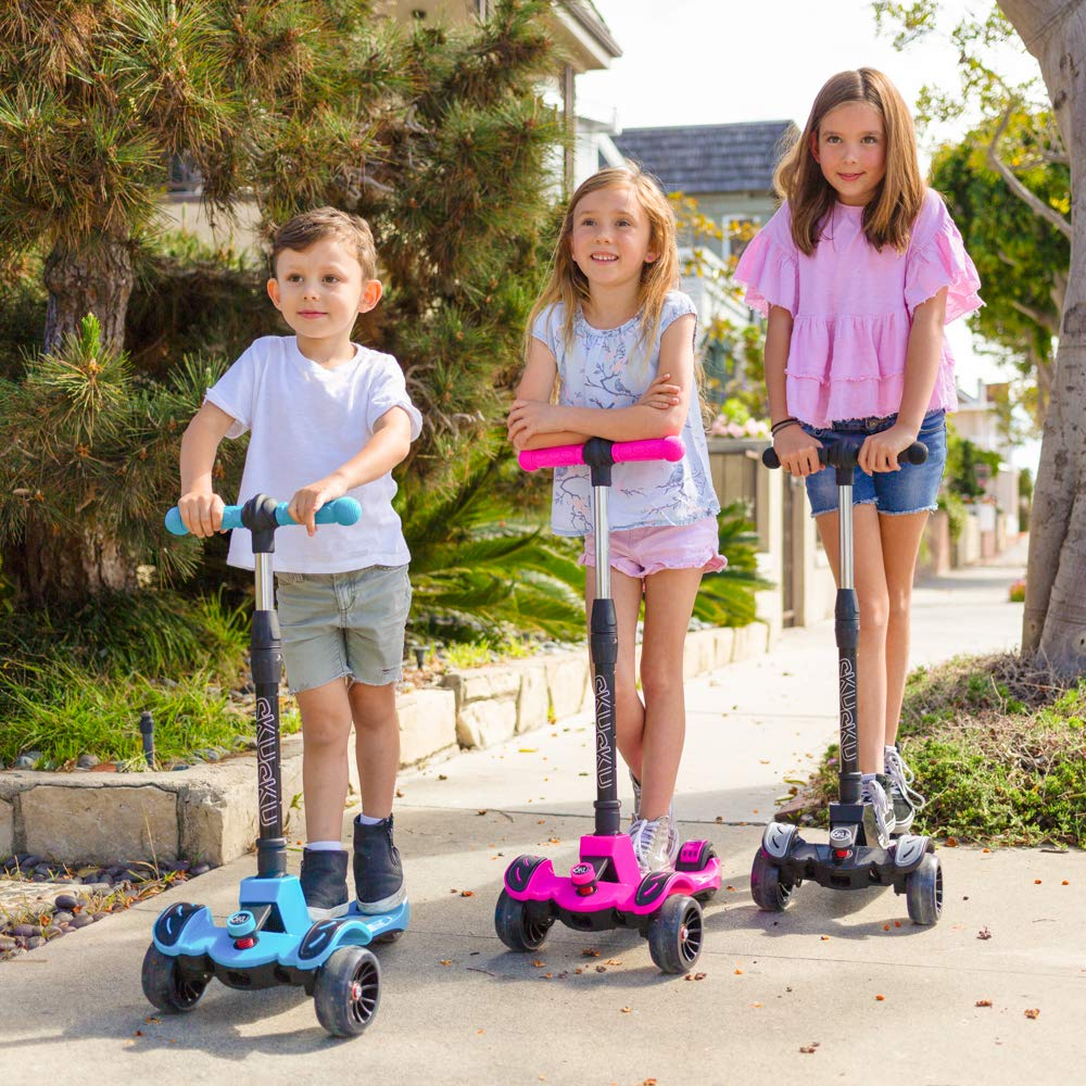 6KU Kids Kick Scooter with Adjustable Height, Lean to Steer, Flashing Wheels for Children 3-8 Years Old Black by 6KU (Image #6)