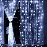 Icicle Curtain Lights, 8 Modes, 306 LED Cutest Fairy String Lights Indoor Outdoor Wall Background Decorative Lights for Wedding/Festival/Party/Garden/Home Christmas Decorations (Cool white)