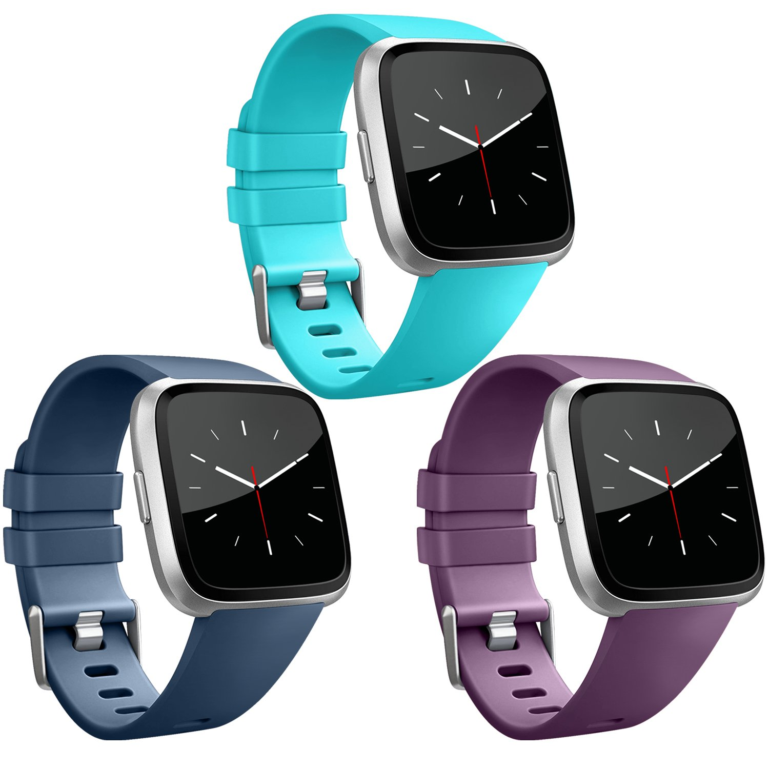 Vancle for Fitbit Versaバンド3パック、クラシックアクセサリー交換用Wristbands for Fitbit Versa Smartwatch B07DNYG72N 007, Teal, Navy Blue, Plum Small
