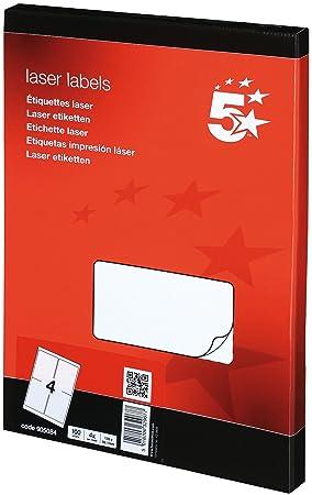 5 star addressing labels laser 4 per sheet 139x99 1mm white 400