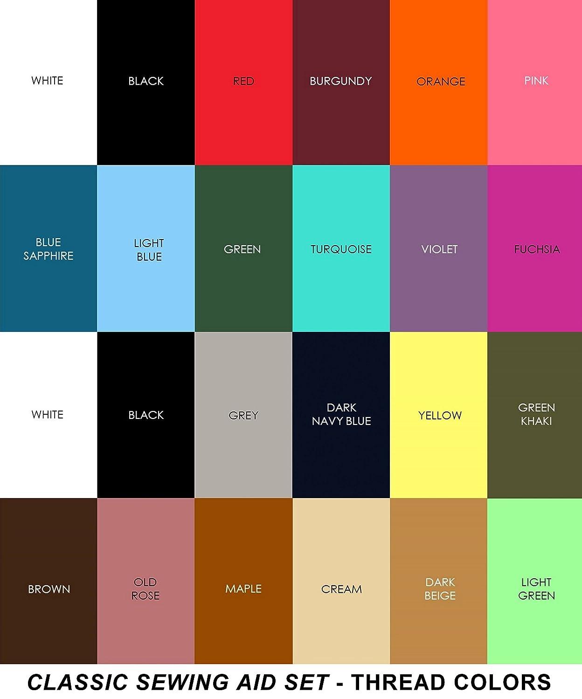 doble de hilos en blanco y negro 1000/m cada uno 24/carretes en varios colores Ayuda de hilo poli/éster Costura para mano y m/áquina de coser