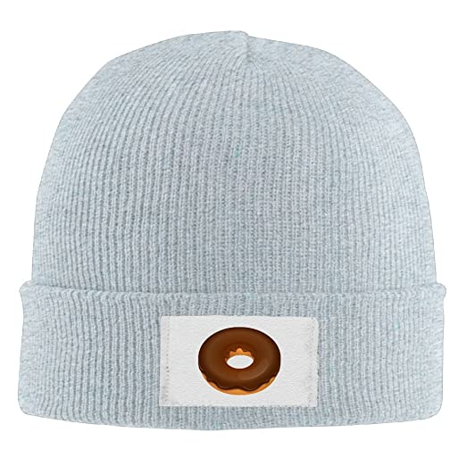 7348f6f4e9e NO4LRM Men Women Chocolate Donut Warm Stretchy Knit Wool Beanie Hat Solid  Daily Skull Cap Outdoor Winter at Amazon Men s Clothing store