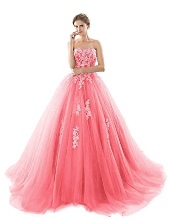 e74138bf05a Yiweir Women s Ball Gown Prom Dresses 2018 Long Strapless Tulle Lace Formal  Evening Gowns P173 at Amazon Women s Clothing store